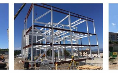 Steelwork assembled at the new Greenock Health and Care Centre